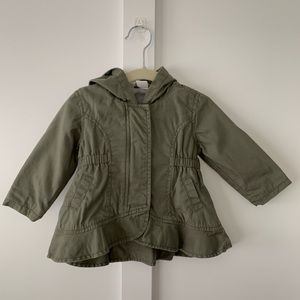 Green Field Jacket with Hood and Peplum Hem.